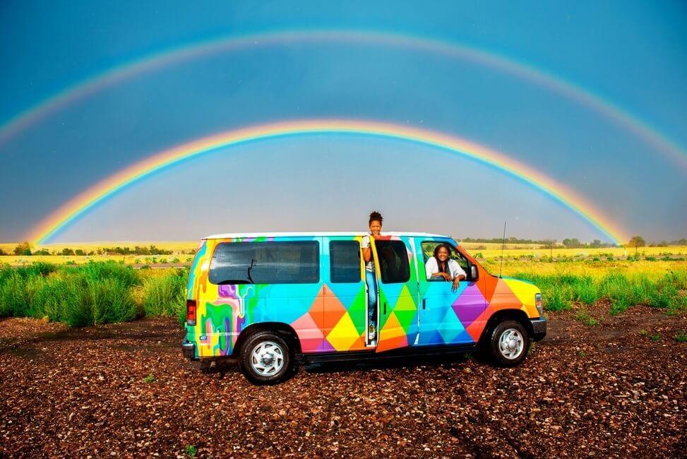 Campervan Artwork Rainbow