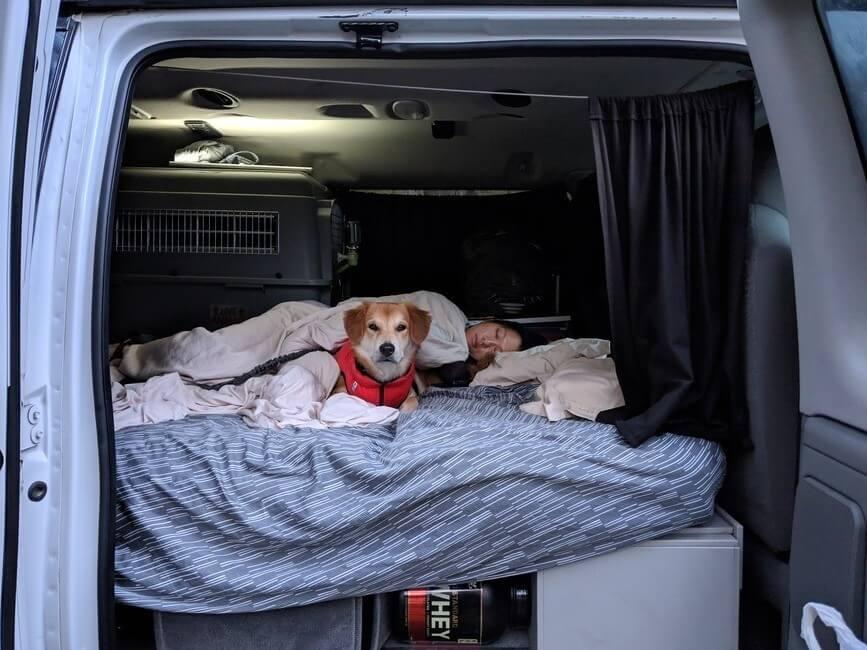 Sleeping in campervan