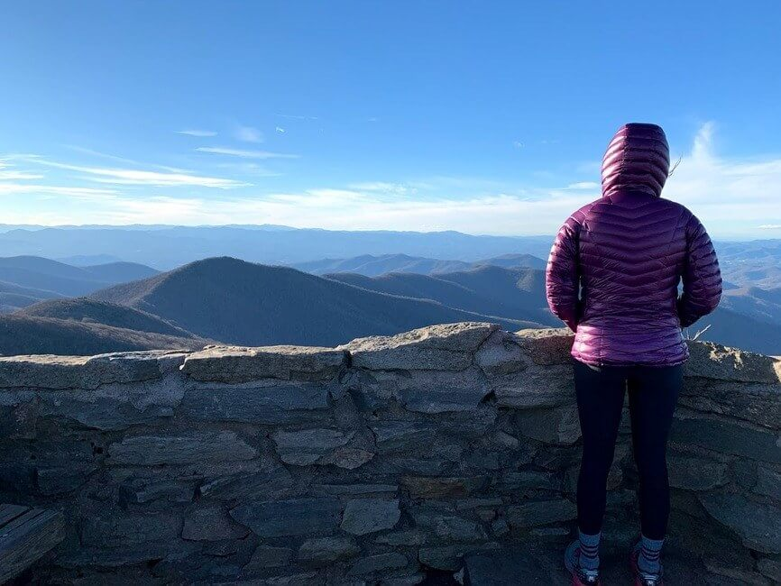 Person standing at the Blue ridge mountains