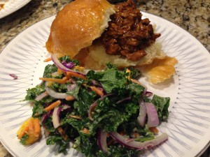Sunday supper at home with BBQ chicken sandwiches and a quick slaw