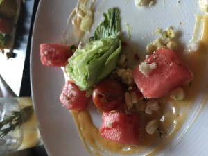 A watermelon salad at Table No 10