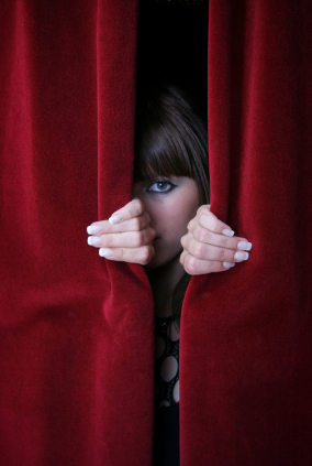 Image result for hiding behind curtains
