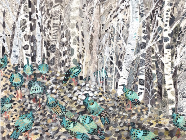Morin_Winter Woods and Wild Turkeys_watercolor and gouache on paper_16x12