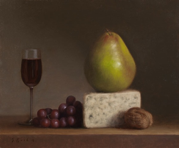 Jonathan Koch, Pear, Cheese, Grapes, Walnuts, Glass, oil on linen, 12 x 10 inches, 2013