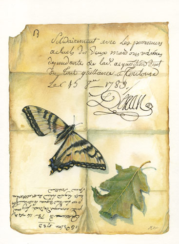 Maryjo Koch, Painted Letter with Broken-Winged Butterly