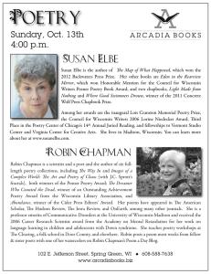 Susan Elbe, Arcadia Poetry