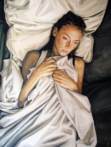 Heather Horton, white sheets