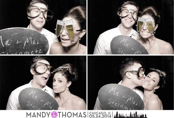 Mandy and Thomas, silly glasses