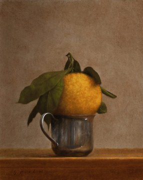 Jonathan Koch, Tangerine in a Silver Cup, 8 x 10 inches, 2012