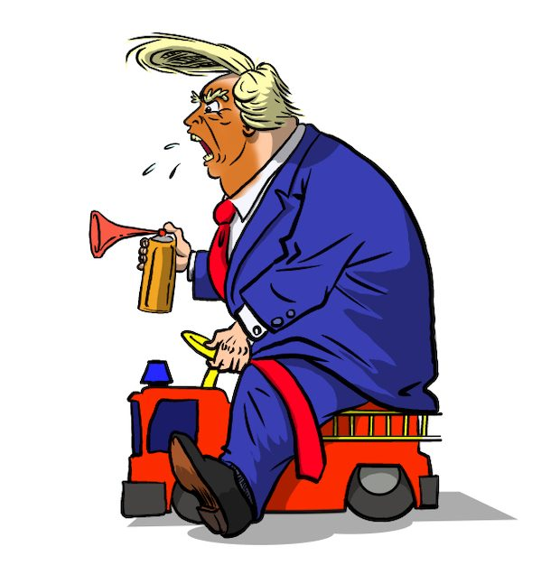 Cartoon by Phil Maish: Donald Trump rides a toy truck