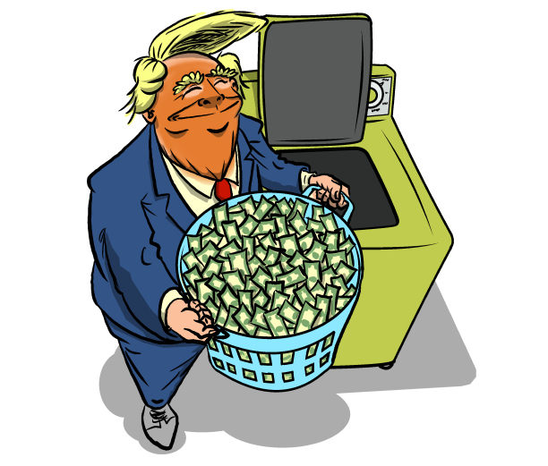 Cartoon by Phil Maish: Donald Trump laundering money