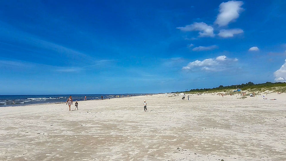 Long distance hiking trail _ Wide white sand beach in Liepāja City