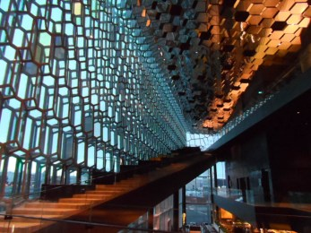 Inside the Harpa Concert Hall in Reykjavik