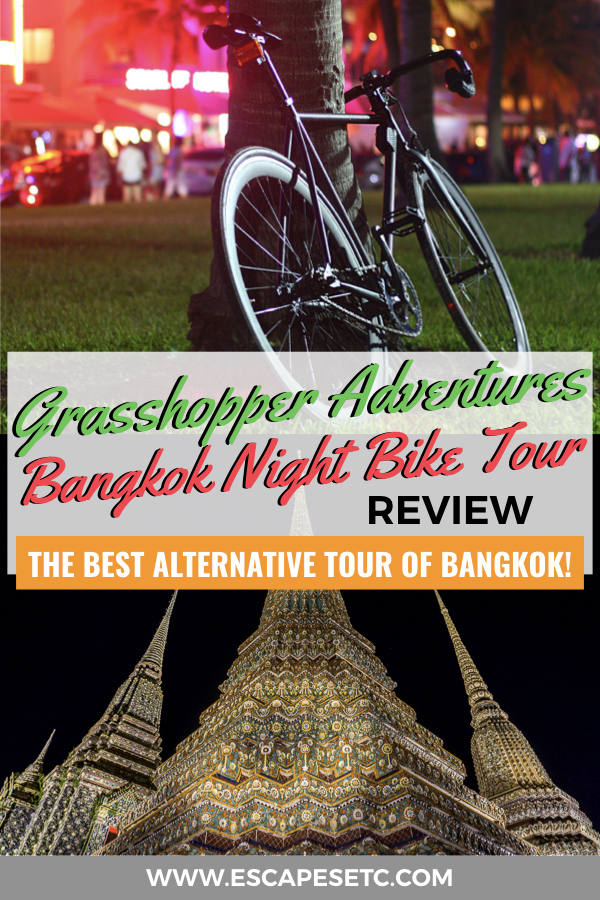 Visiting Bangkok and looking for a way to get off the beaten track? The Grasshopper Adventures Bangkok night bike tour is perfect for you! Check out my review to find out why this alternative tour of Bangkok is awesome and perfect for you if you want to get away from crowds and see Bangkok from a locals perspective #bangkok #bangkoknightbiketours #alternativebangkoktours #visitbangkok #thingstodoinbangkok #bestthingstodoinbangkok
