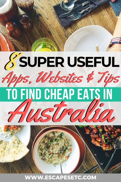 If you're travelling Australia on a budget but still love to eat out, I've got the perfect thing for you! I've found the best apps, websites and general tips for how to eat out for cheap in Australia. I've gathered 8 ways to find the cheapest food in Australia as well as some tips on cheap ways to travel Australia.#budgetravel #australia #australiabudgettravel #backpackingaustralia #cheapeatsaustralia #sydney #melbourne #brisbane #budgettravel #foodietravel