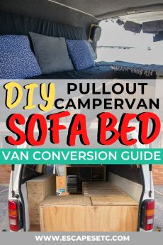 Looking to do a DIY camper conversion? Here's how to make a campervan sofa bed, one of the best campervan layouts for saving space and creating storage. Click here for the full instructions! #vanconversion #campervanconversion #diyvanconversion #microvanconversion #campervanbed #campervansofabed