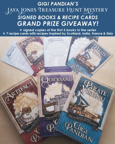 Gigi-Pandian-GIVEAWAY-3-books-Jaya-Jones-recipe-cards