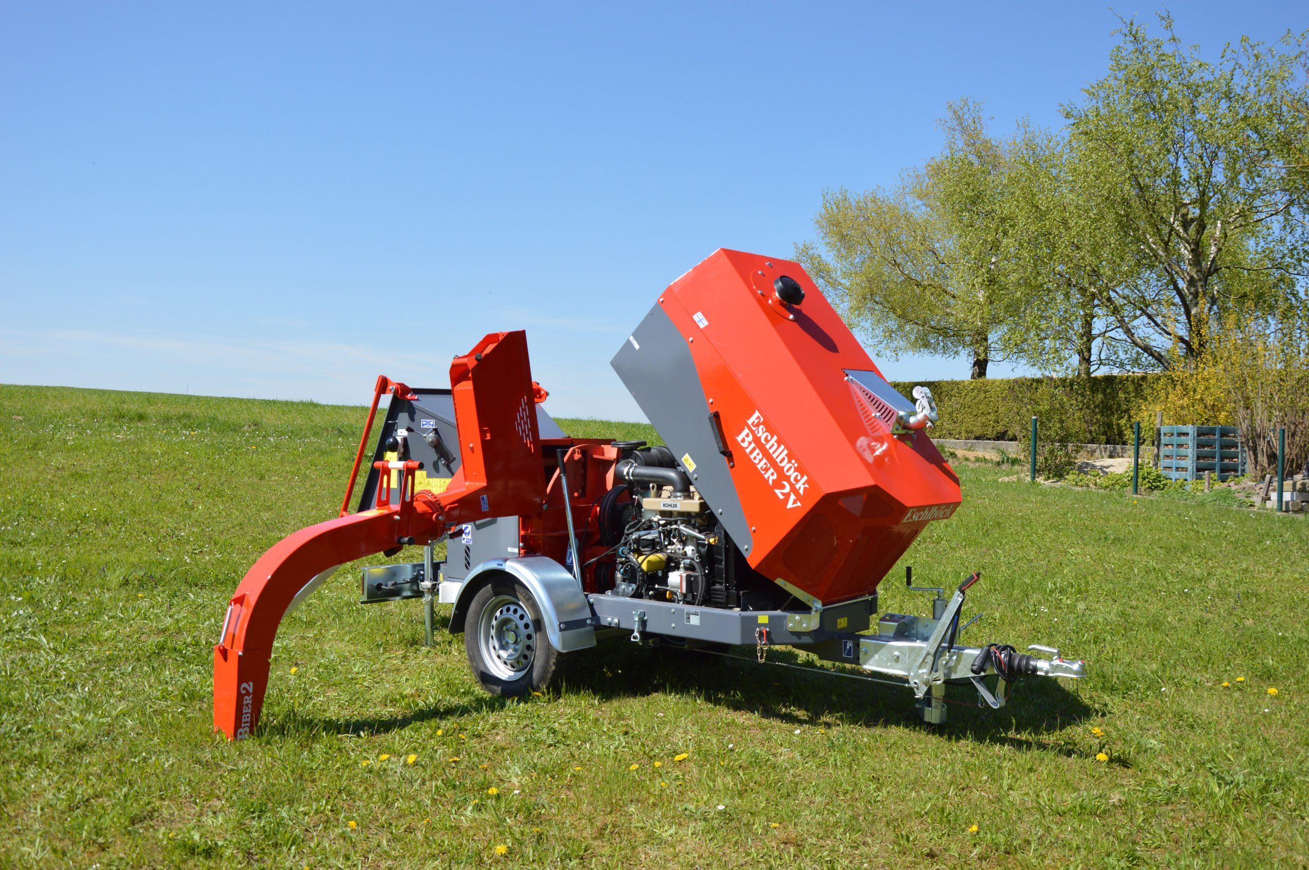 Eschlböck Biber 2V Holzhackmaschine aufgeklappt