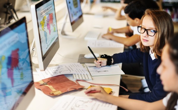 Elementary Students On Computers