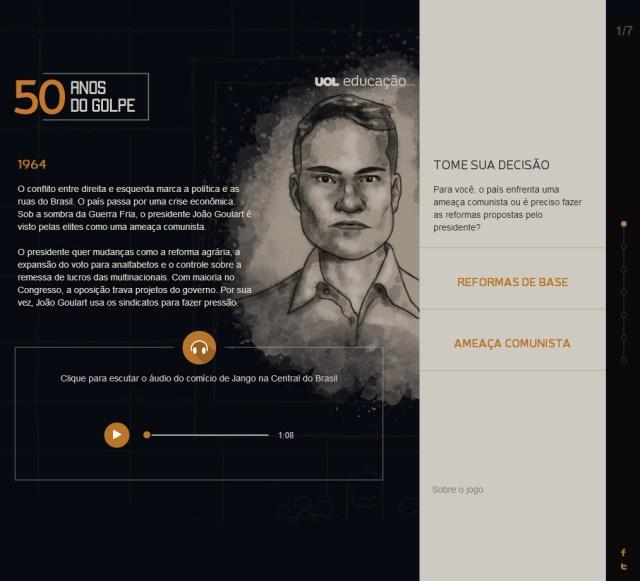 """Print do game """"50 Anos do Golpe"""""""