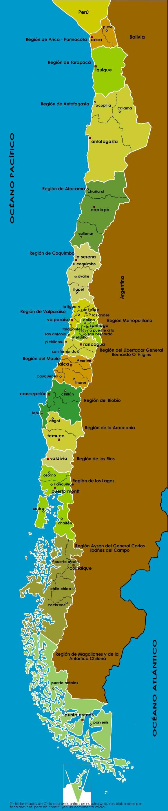 Mapa Político Administrativo de Chile con sus 15 Regiones