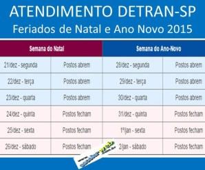 Calendário de funcionamento do Detran-SP e Poupatempo nos feriados de Natal e Ano Novo