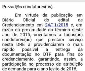 Mais uma DRE avisa sobre suspensão do TEG. Condutores farão manifestação hoje à tarde no CRC