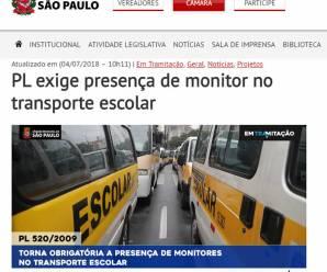 Portal da Câmara de SP retoma discussão de PL que exige presença de monitor no transporte escolar