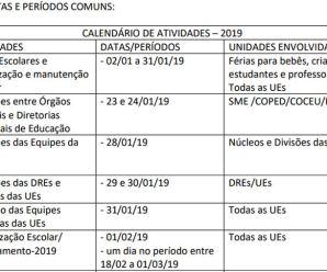 Confira o calendário escolar 2019 da rede municipal da cidade de São Paulo
