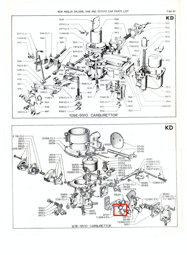 Mk1 Anglia Choke Cable Clip (PSE1-3 Carb) 105E 123E 307E