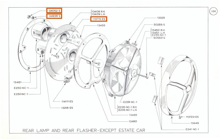 Mk1 Cortina Rear Light Cluster / Lamp Fixing Bolt Set GT