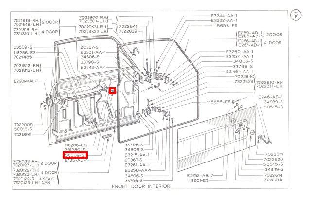 Mk1 Cortina Window Winder Door Release Mechanism Screws