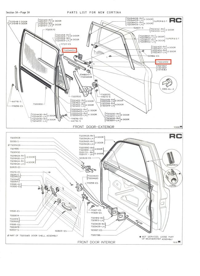Mk2 Cortina Two Door Handle & Boot Lock Seal Set GT Lotus