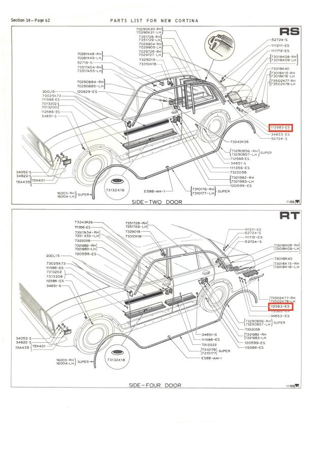 C Pillar Trim Fasteners x4 Mk2 Cortina GT Lotus Savage