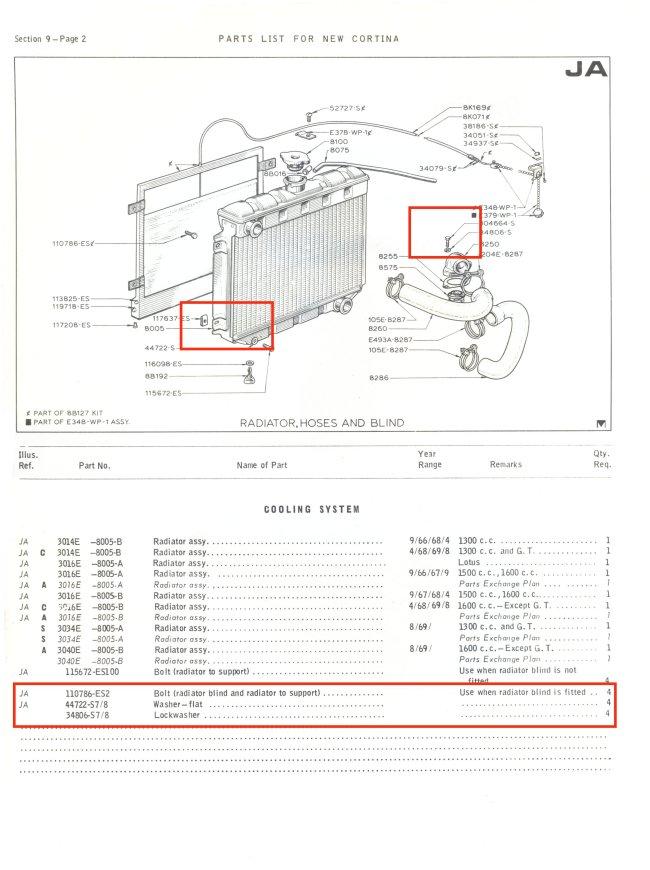Radiator Clip Set Mk2 Cortina GT Lotus Savage 1600E Brand