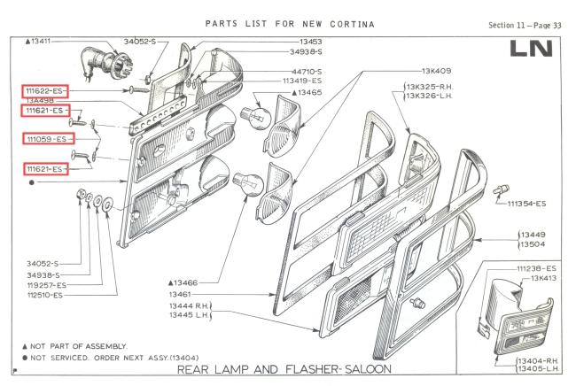 Mk2 Ford Cortina Rear Light Lens Screws Stainless GT Lotus