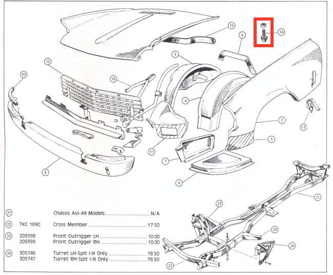 Triumph TR4 TR5 TR6 Vitesse GT6 Bonnet Bumper Cones & Nut