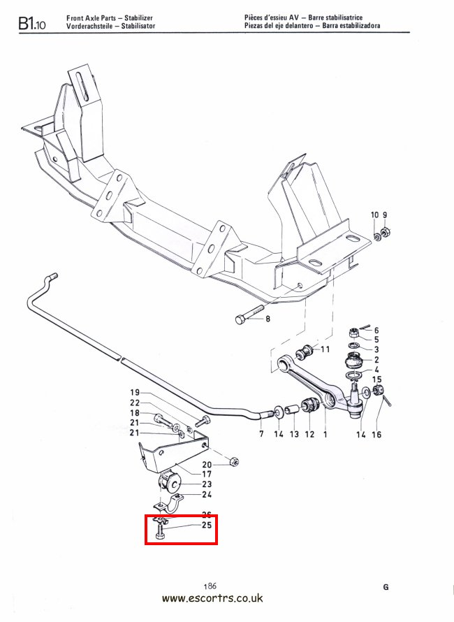 Anti Roll Bar Bolts Mk1 Escort Mexico RS 2000 Twin Cam