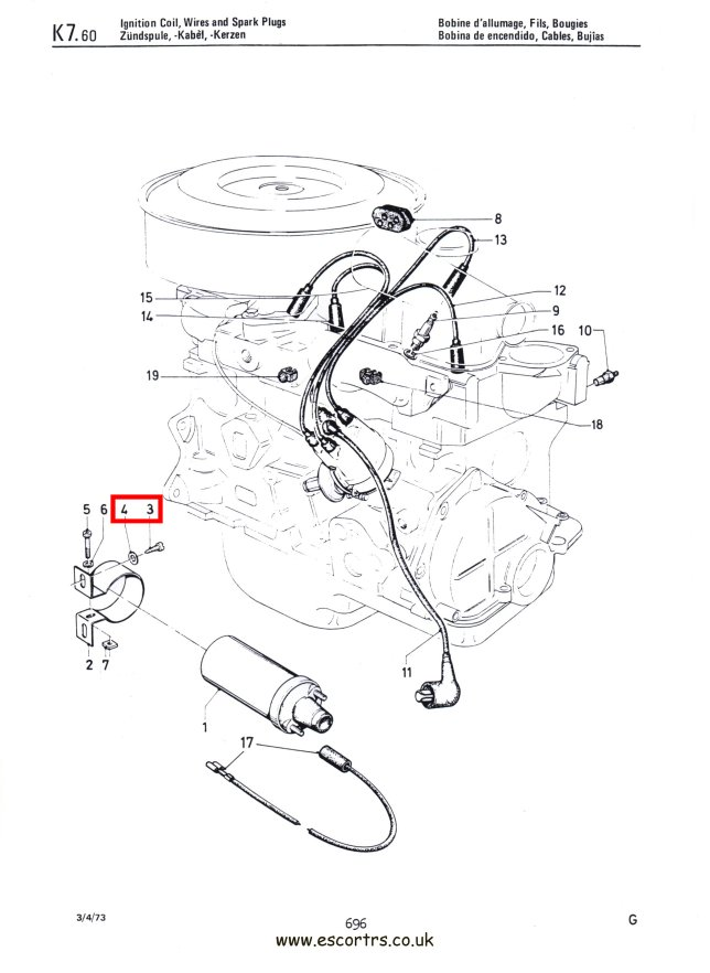 Coil Bracket Screws Stainless Steel Mk1/2 Escort RS2000