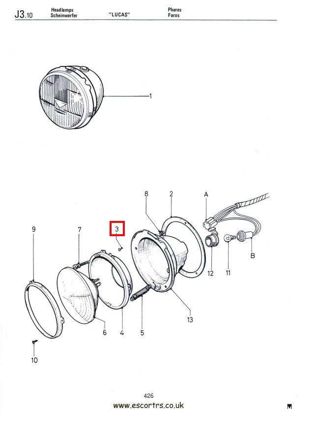 Headlight Bowl Screws Stainless Steel Mk1 Escort RS 2000