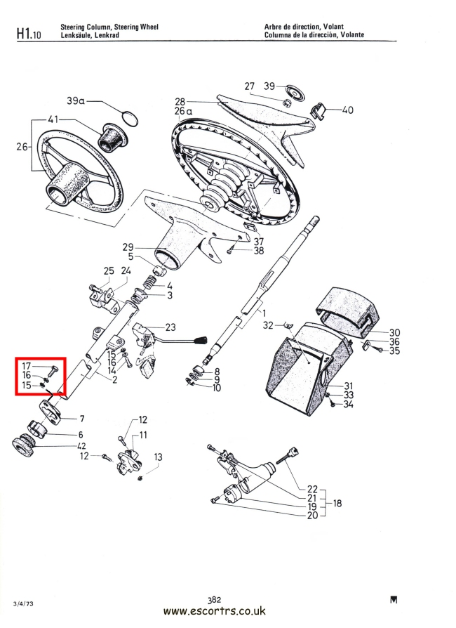 Lenksäule unten zu Schott Schrauben SS Mk1 Escort RS