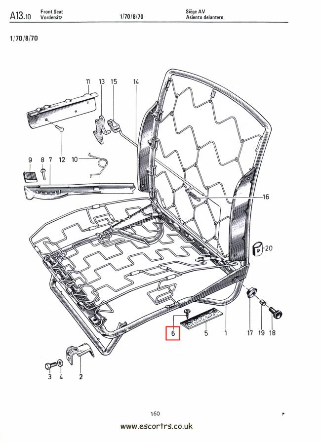 Front Seat Landing Pad Screws Stainless Steel Mk1 Escort