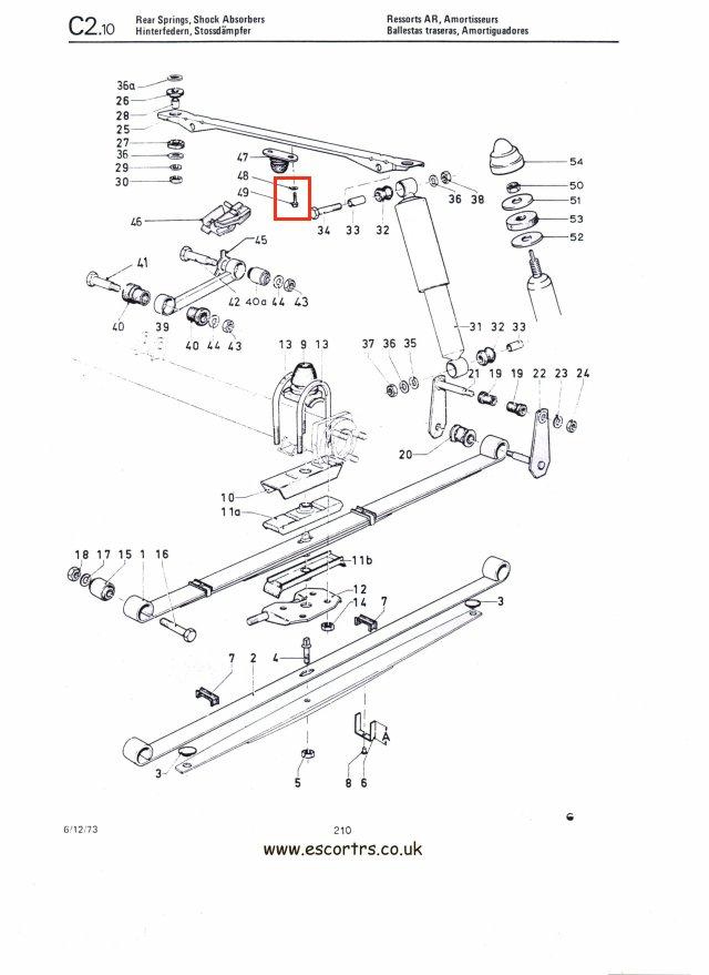 Rear Axle Bumper Bolts Mk1/2 Escort RS2000 Mexico Twin Cam