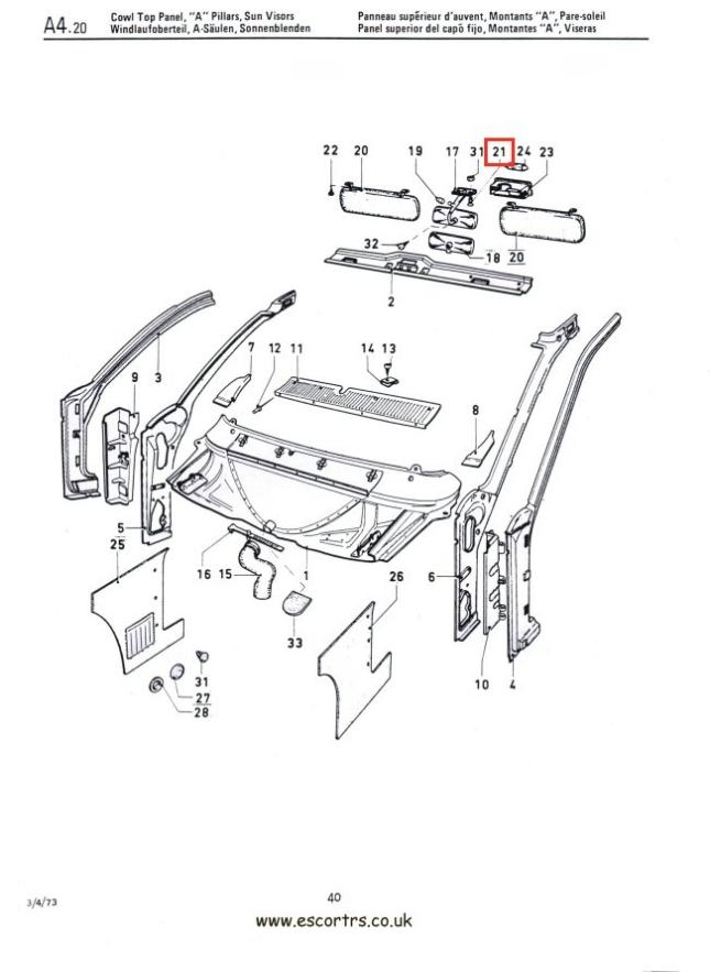 Rear View Mirror Screws Mk1/2 Escort RS 2000 Mexico Twin