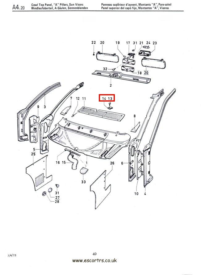 Scuttle Panel Clip Set Mk1 Escort RS 2000 Mexico Twin Cam