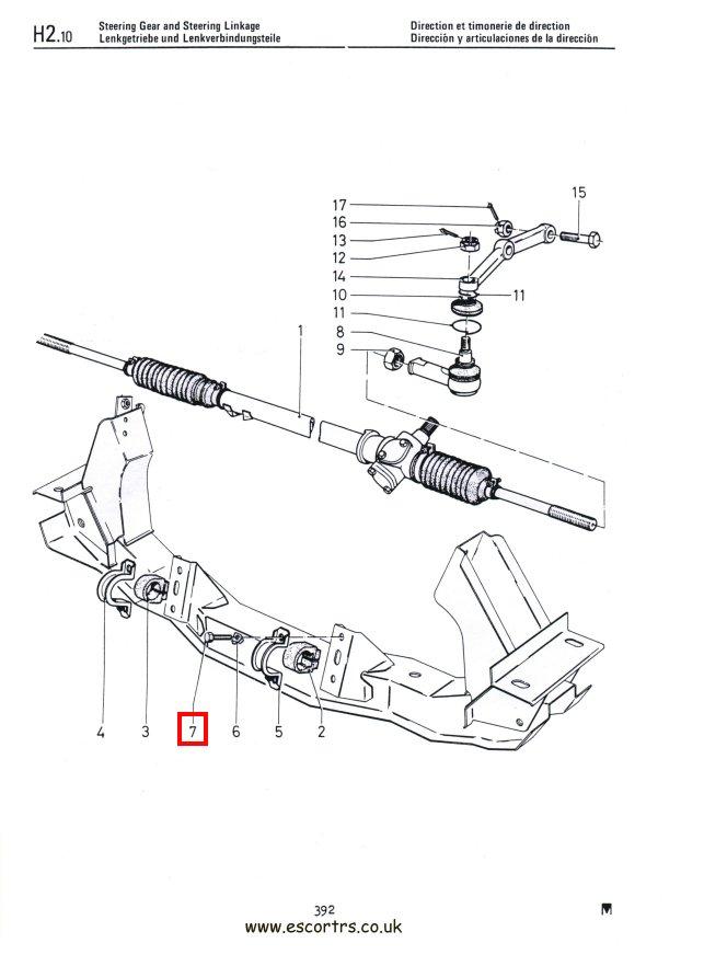 Ford escort steering rack dimensions
