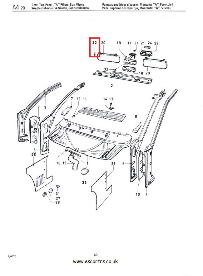 Sun Visor Fixings Stainless Steel Mk1 Escort RS2000 Mexico