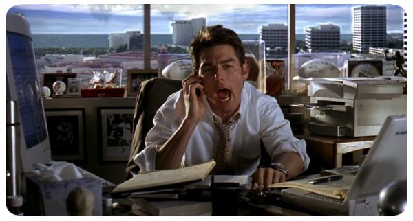 """Tom Cruise em cena do filme """"Jerry Maguire - A Grande Virada"""""""