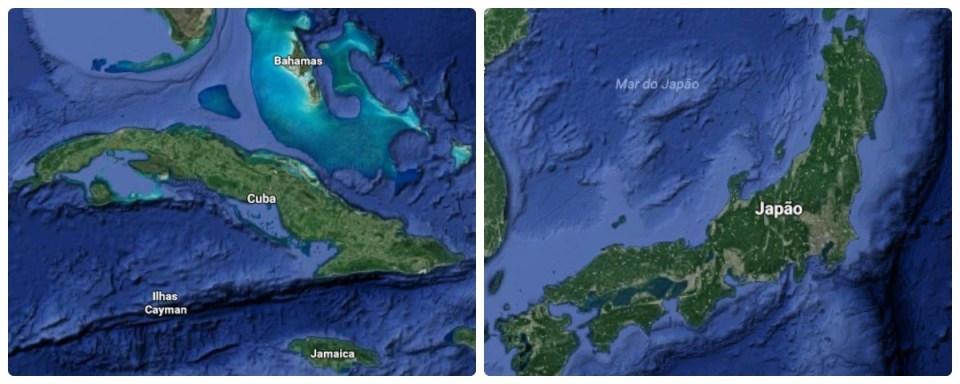 Japão e Cuba no Google Earth