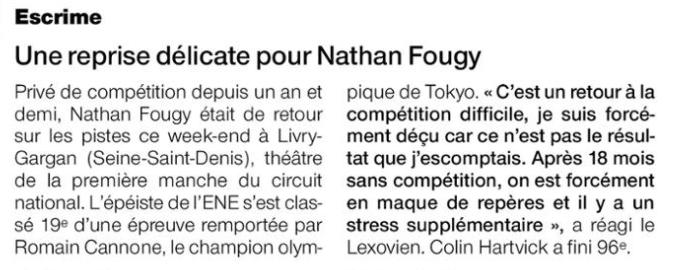 2021.10.11 - OF sport - Une reprise délicate pour Nathan Fougy escrime lisieux team ene